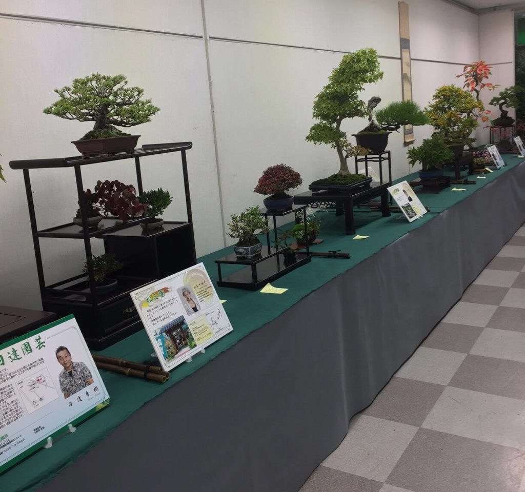 長野県盆栽商加盟業者の展示即売の様子